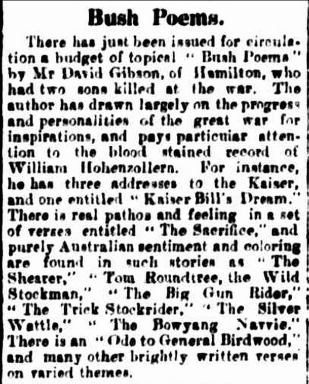 """Bush Poems."" The Casterton News and the Merino and Sandford Record (Vic. : 1914 - 1918) 9 Dec 1918: 3 Edition: Bi-Weekly.. Web. ."
