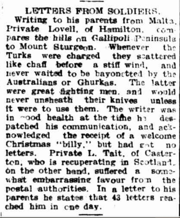 """""""LETTERS PROM SOLDIERS."""" Hamilton Spectator (Vic. : 1870 - 1873; 1914 - 1918) 12 Feb 1916: 4."""