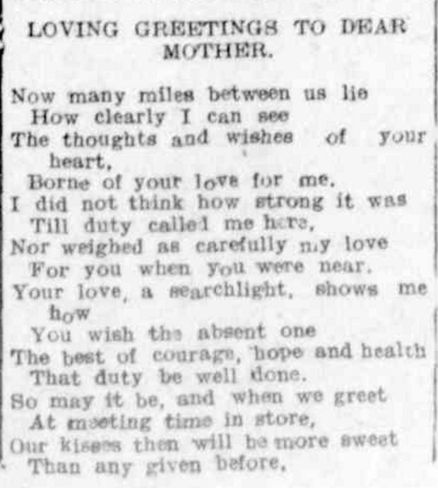 """""""SOLDIER'S GREETING TO HIS MOTHER"""" Hamilton Spectator (Vic. : 1870 - 1918) 9 March 1916: 6. ."""