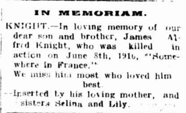 """Family Notices."" Hamilton Spectator (Vic. : 1870 - 1873; 1914 - 1918) 9 Jun 1917: 4."