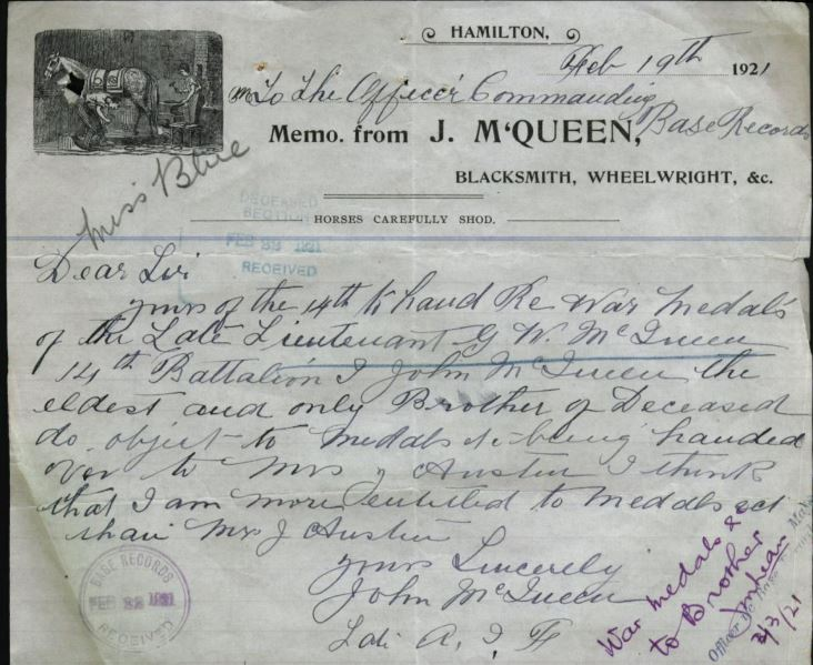 National Archives of Australia.  War Service Record of George William McQueen. http://discoveringanzacs.naa.gov.au/browse/records/136217/86
