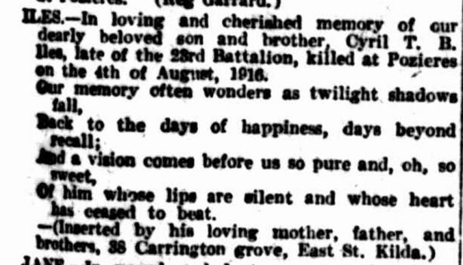 """""""Family Notices."""" The Argus (Melbourne, Vic. : 1848 - 1957) 4 Aug 1921: ."""