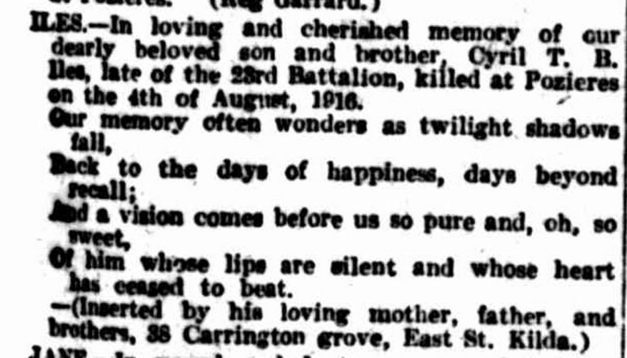 """Family Notices."" The Argus (Melbourne, Vic. : 1848 - 1957) 4 Aug 1921: ."