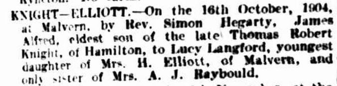 """Family Notices."" The Argus (Melbourne, Vic. : 1848 - 1957) 19 Nov 1904: 9. Web. 27 Jun 2015 ."