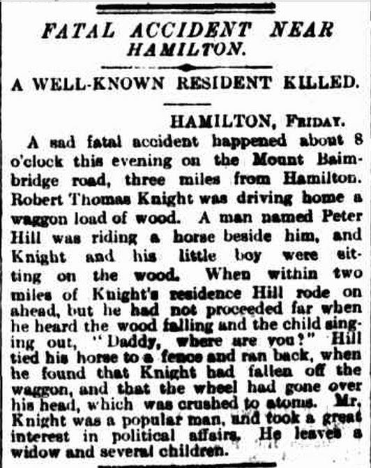 """FATAL ACCIDENT NEAR HAMILTON."" The Argus (Melbourne, Vic. : 1848 - 1957) 25 Feb 1893: 8. Web. 27 Jun 2015 ."