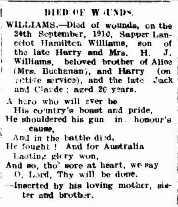 """Family Notices."" Hamilton Spectator (Vic. : 1870 - 1873; 1914 - 1918) 17 Oct 1916: 4. Web. 28 Jun 2015 ."