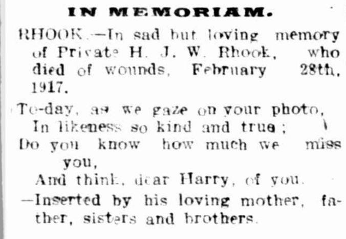 """Family Notices."" Hamilton Spectator (Vic. : 1870 - 1873; 1914 - 1918) 28 Feb 1918: 4. ."