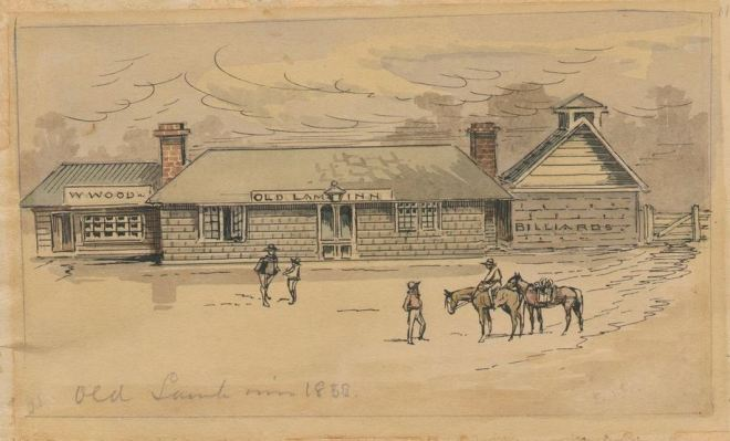 OLD LAMB INN c1858 by George McRae, Image courtesy of the State Library of Victoria.  Image no. H36480  http://handle.slv.vic.gov.au/10381/274274
