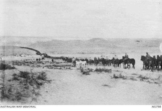 ON THE WAY TO BEERSHEEBA. Image coutesy of the Australian War Memorial https://www.awm.gov.au/collection/A02788/