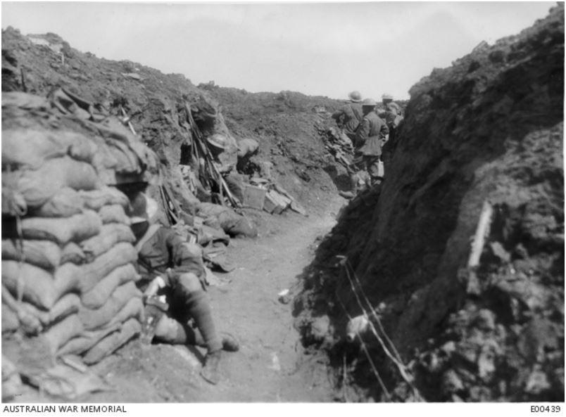 8th AUSTRALIAN INFANTRY BATTALION TRENCH , BULLECOURT, FRANCE MAY 1917. Image courtesy of the Australian War Memorial https://www.awm.gov.au/collection/E00439/