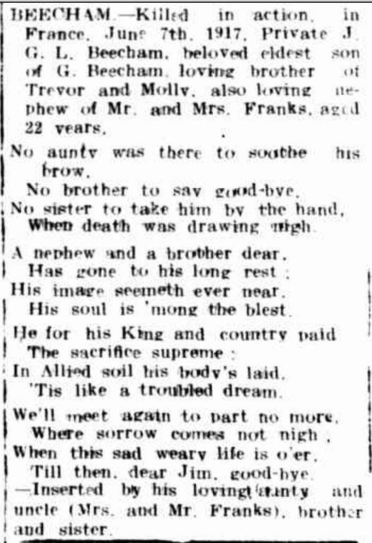 """KILLED IN ACTION."" Hamilton Spectator (Vic. : 1870 - 1873; 1914 - 1918) 3 Aug 1917: 2. ."
