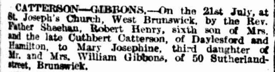 """""""Family Notices"""" The Age (Melbourne, Vic. : 1854 - 1954) 25 September 1915: ."""