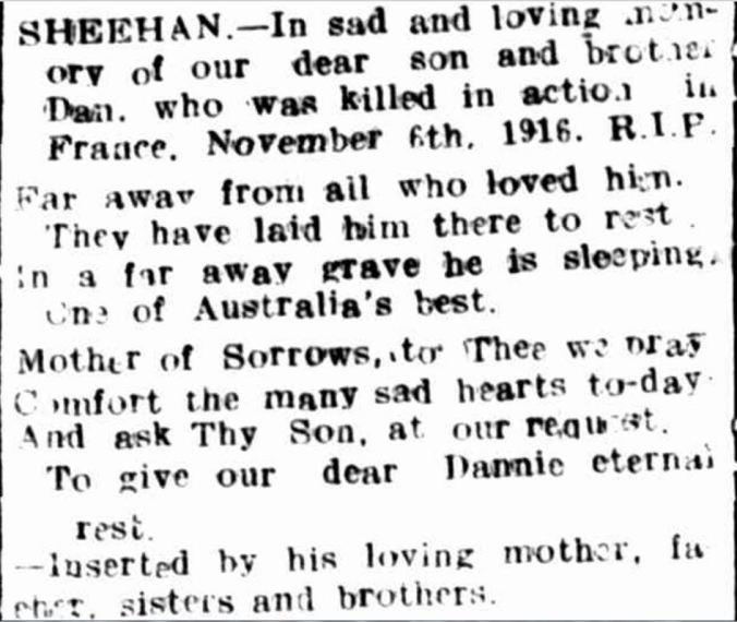 """""""Family Notices"""" Hamilton Spectator (Vic. : 1870 - 1918) 6 November 1917: 4. ."""