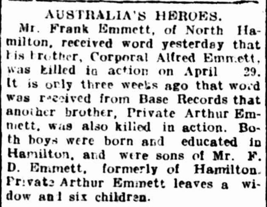 """""""Hamilton Spectator"""" Hamilton Spectator (Vic. : 1870 - 1873; 1914 - 1918) 12 May 1917: 6. Web. 22 Mar 2016 ."""