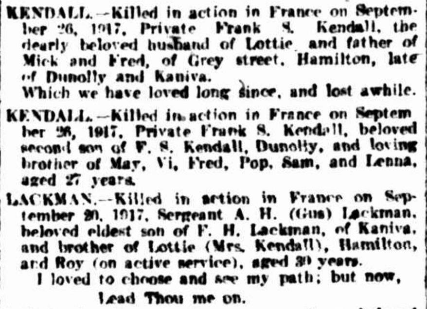 """Family Notices"" The Argus (Melbourne, Vic. : 1848 - 1957) 24 October 1917: ."