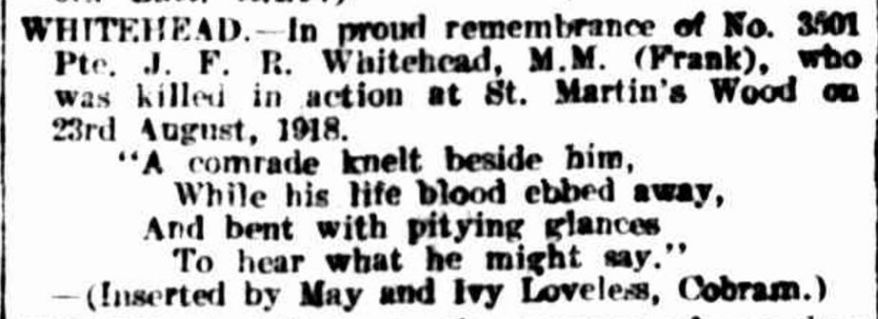 """""""Family Notices."""" The Argus (Melbourne, Vic. : 1848 - 1957) 23 Aug 1919: ."""