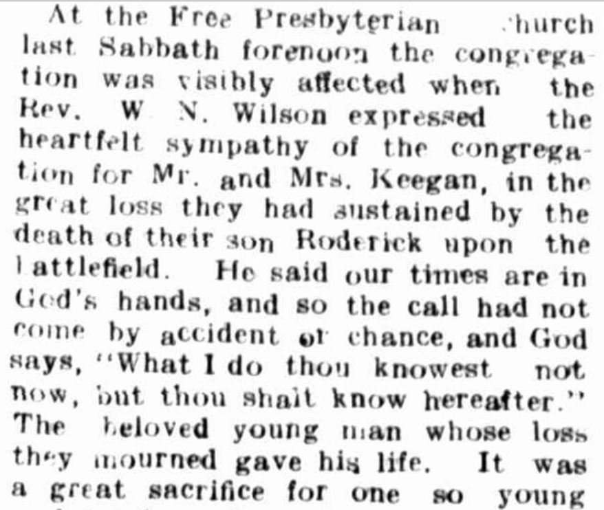 """THE LATE PRIVATE R. KEEGAN"" Hamilton Spectator (Vic. : 1870 - 1918) 8 December 1917: ."