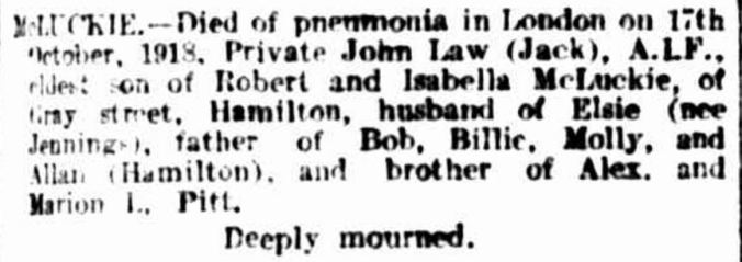 """""""Family Notices"""" The Argus (Melbourne, Vic. : 1848 - 1957) 31 October 1918: 1. ."""