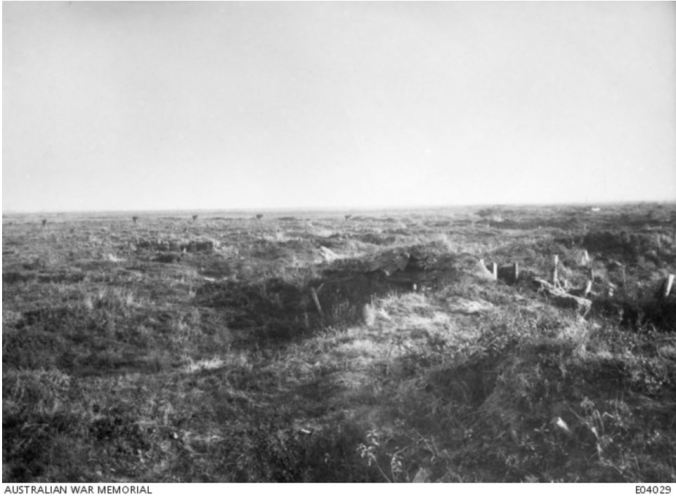 NO MAN'S LAND, FROMELLES BATTLEFIELD, FRANCE. Image courtesy of the Australian War Memorial. https://www.awm.gov.au/collection/E04029/