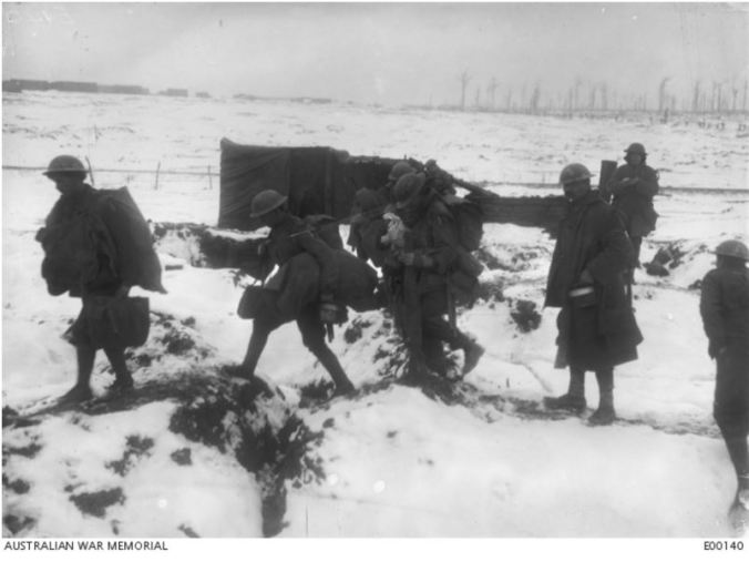 SOLDIERS AT BERNAFAY JANUARY 1917. Image courtesy of the Australian War Memorial https://www.awm.gov.au/collection/E00140/