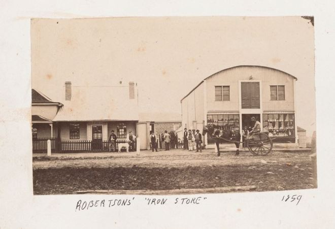 ROBERTSON'S IRON STORE, PORTLAND c1859. Image courtesy of the State Library of Victoria. Image no. H2013.345/2 http://handle.slv.vic.gov.au/10381/318582