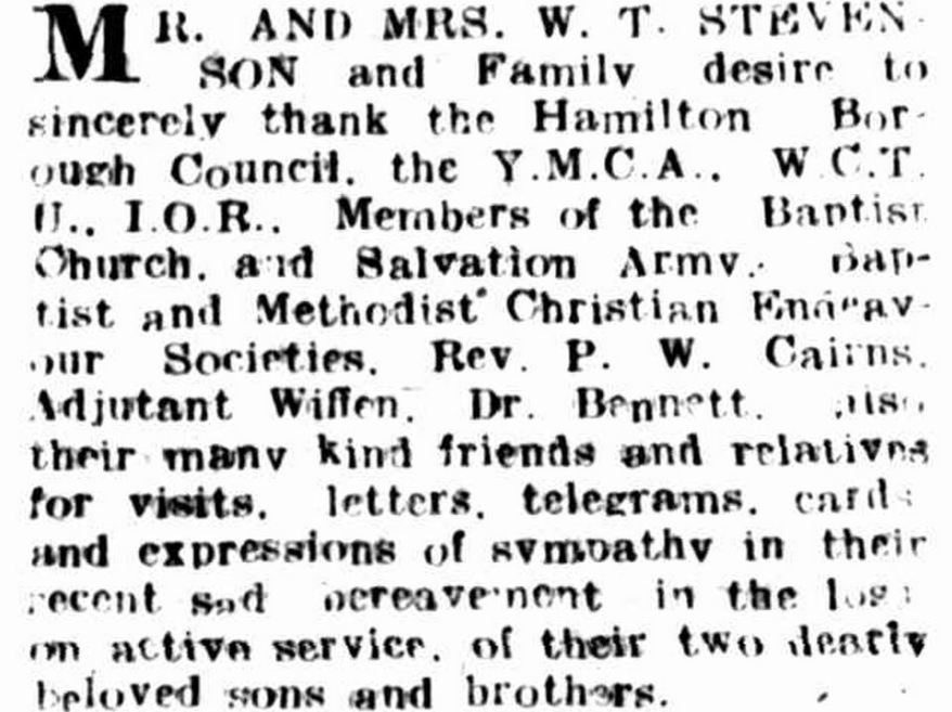"""Family Notices."" Hamilton Spectator (Vic. : 1870 - 1873; 1914 - 1918) 24 Nov 1917: 7. ."