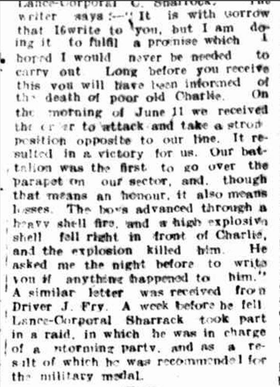"""THE LATE CORPORAL C. SHARROCK."" Hamilton Spectator (Vic. : 1870 - 1873; 1914 - 1918) 13 Aug 1917 ."