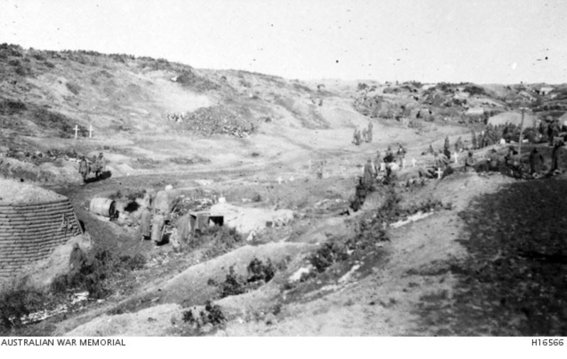 BROWNS DIP, GALLIPOLI 1915. Image courtesy of the Australian War Memorial https://www.awm.gov.au/collection/H16566/