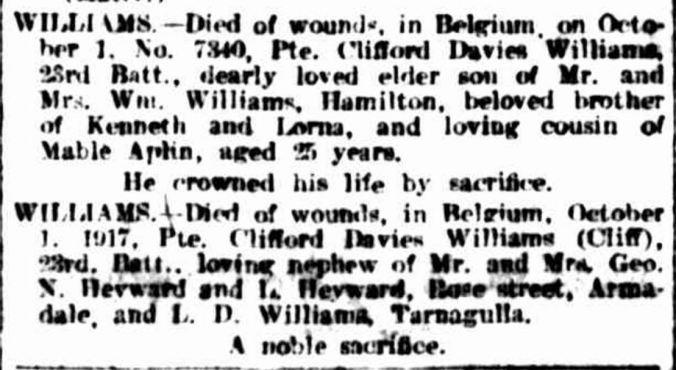 """""""Family Notices."""" The Argus (Melbourne, Vic. : 1848 - 1957) 29 Dec 1917: 1. ."""