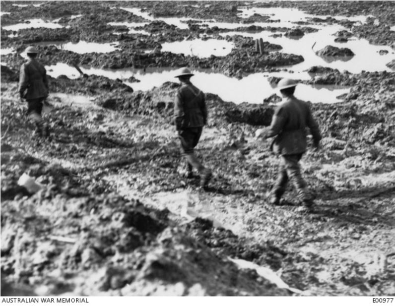Passchendaele Area, Zonnebeke, 15 October 1917. Image courtesy of the Australian War Memorial. https://www.awm.gov.au/collection/E00977/