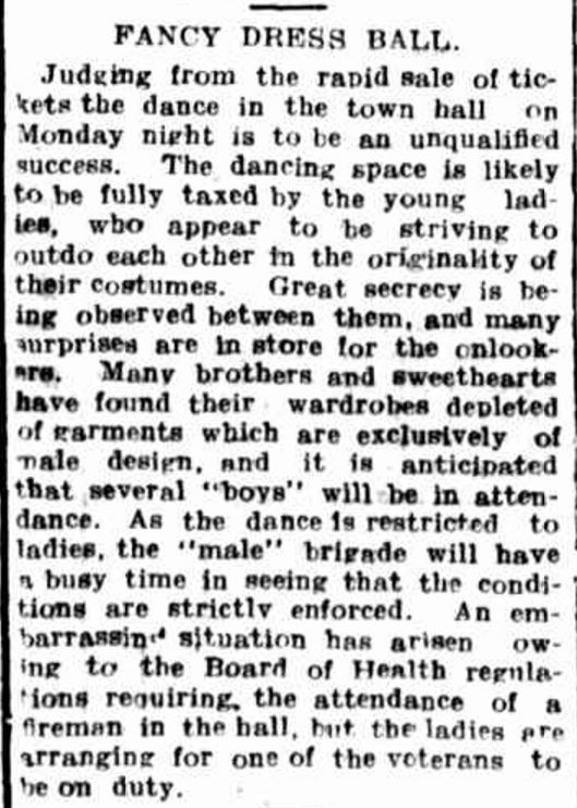 """FANCY DRESS BALL."" Hamilton Spectator (Vic. : 1870 - 1873; 1914 - 1918) 19 Nov 1915: 4. ."