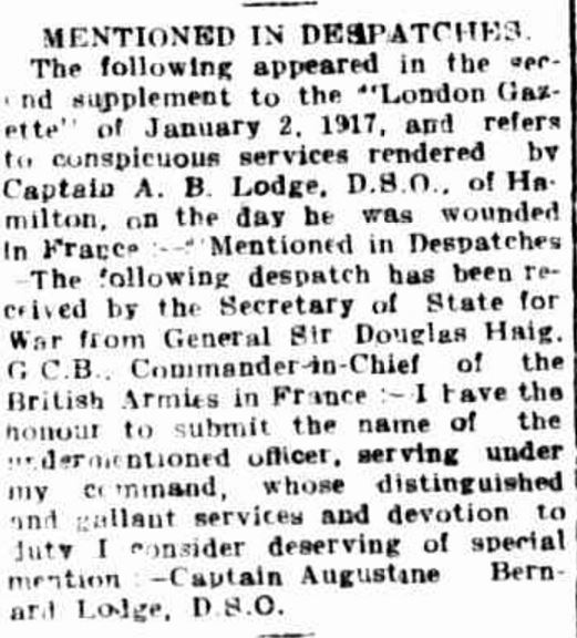 """""""MENTIONED IN DESPATCHES."""" Hamilton Spectator (Vic. : 1870 - 1873; 1914 - 1918) 17 July 1917:."""