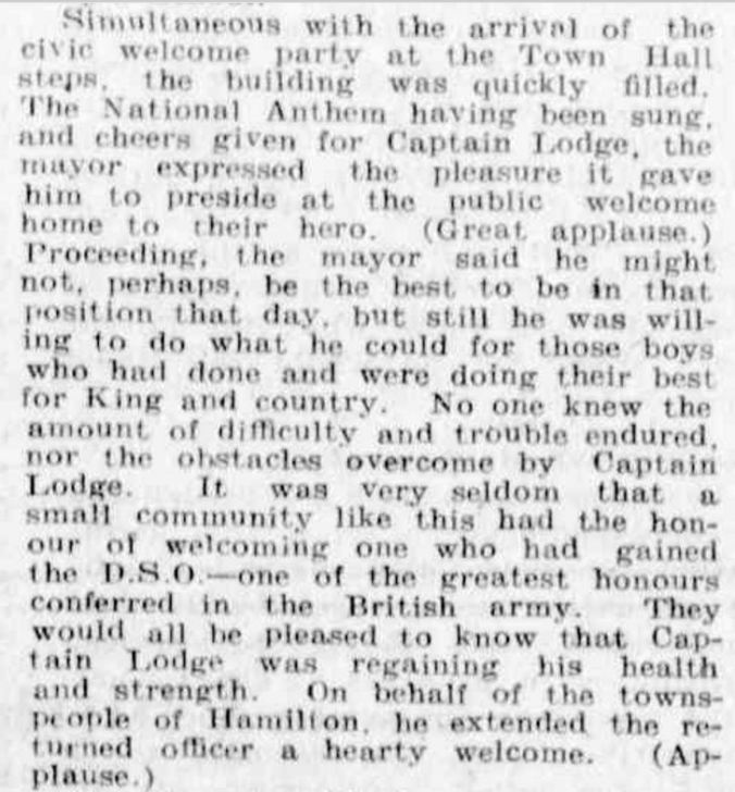 """Hamilton Soldier's Home-Coming"" Advocate (Melbourne, Vic. : 1868 - 1954) 31 March 1917:."
