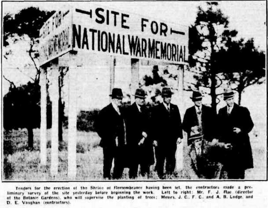 """SHRINE OF REMEMBRANCE PRELIMINARIES."" The Argus (Melbourne, Vic. : 1848 - 1957) 12 June 1928: ."