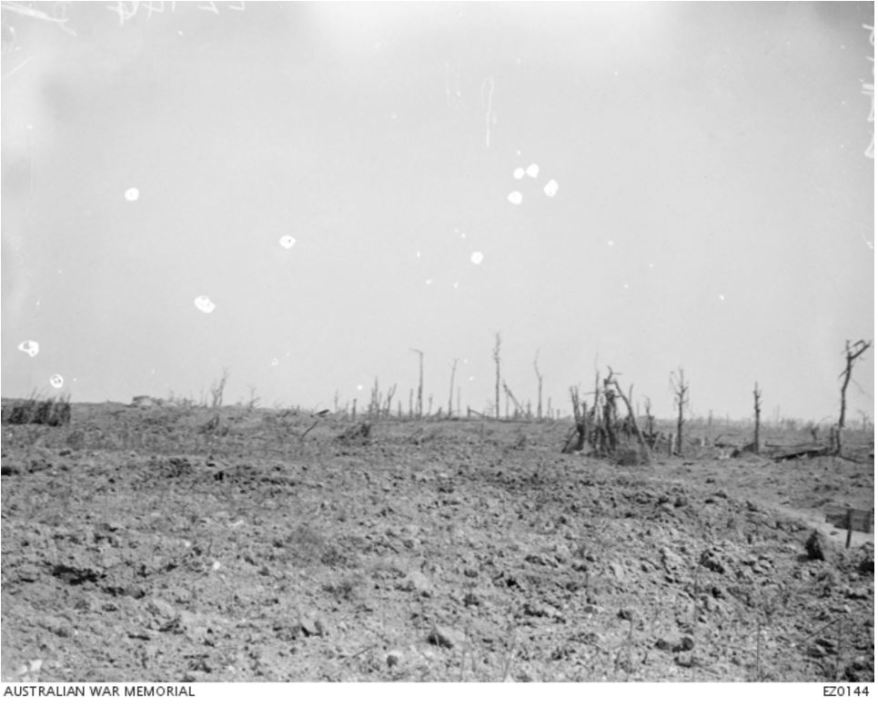 THE VILLAGE OF POZIERES AFTER THE EVENTS OF 25 JULY 1916. Image courtesy of the Australian War Memorial https://www.awm.gov.au/collection/EZ0144/
