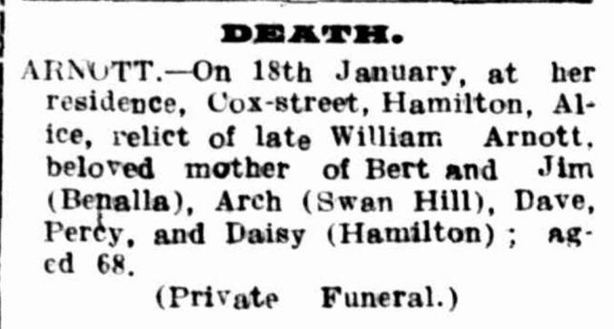 """Family Notices."" Hamilton Spectator (Vic. : 1870 - 1873; 1914 - 1918) 19 Jan 1916: 4. ."