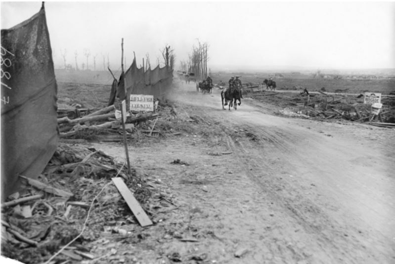 HELLFIRE CORNER, YPRES, BELGIUM 27 September 1917. Image courtesy of the Australian War Memorial. https://www.awm.gov.au/collection/E01889/