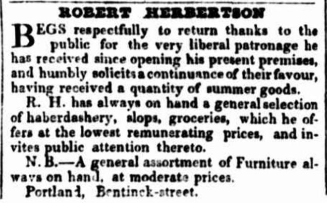 """Advertising."" Portland Guardian and Normanby General Advertiser (Vic. : 1842 - 1876) 4 Feb 1843: 2. ."