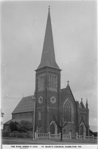 ST MARY'S CATHOLIC CHURCH, HAMILTON. Image courtesy of the State Library of Victoria. http://handle.slv.vic.gov.au/10381/63342