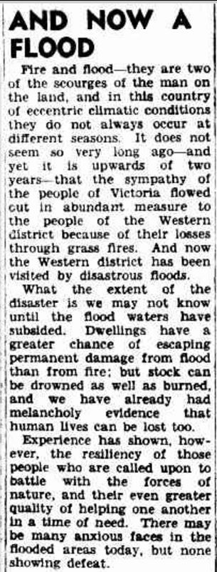 """""""TUESDAY, MARCH 19, 1946 AND NOW A FLOOD"""" The Argus (Melbourne, Vic. : 1848 - 1957) 19 March 1946 ."""