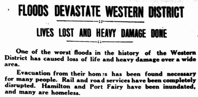 """FLOODS DEVASTATE WESTERN DISTRICT"" The Horsham Times (Vic. : 1882 - 1954) 19 March 1946: 3. Web. 7 Mar 2016 ."