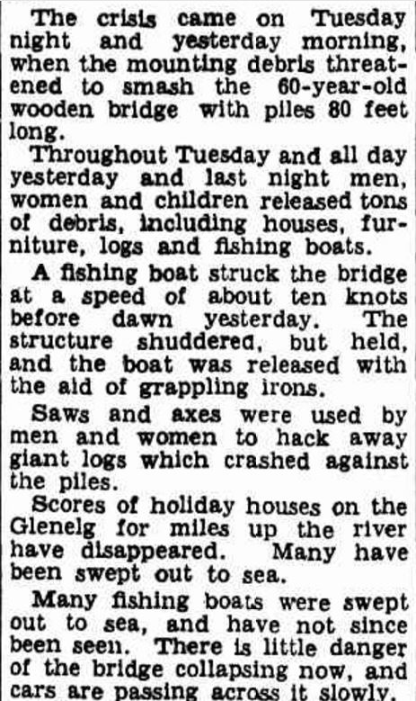"""""""HOW NELSON SAVED ITS BRIDGE"""" The Age (Melbourne, Vic. : 1854 - 1954) 22 March 1946: 3. ."""