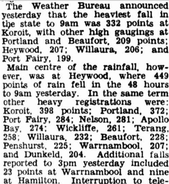 """""""YEAR'S RAINFALL IN THREE MONTHS"""" The Argus (Melbourne, Vic. : 1848 - 1957) 27 March 1946:."""