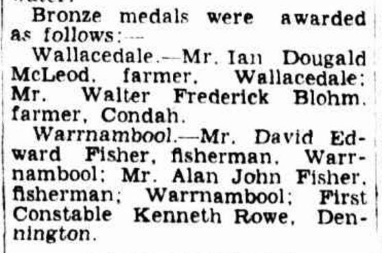"""AWARDS FOR HEROISM"" The Age (Melbourne, Vic. : 1854 - 1954) 2 July 1946: 2. ."