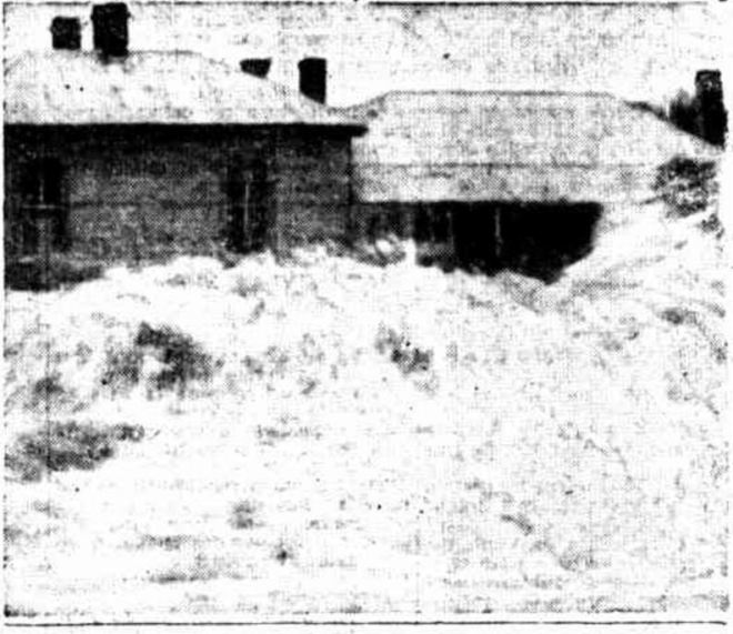 """FLOOD WATERS FROM THE MOYNE RIVER, PORT FAIRY. """"FLOOD WAVES LASH HOUSES"""" Sunday Times (Perth, WA : 1902 - 1954) 24 March 1946: 15 (Sport Section). ."""