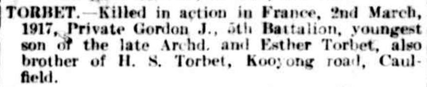 """Family Notices"" The Argus (Melbourne, Vic. : 1848 - 1957) 5 May 1917 ."