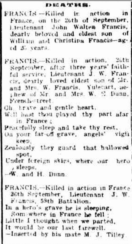 """Family Notices"" Hamilton Spectator (Vic. : 1870 - 1873; 1914 - 1918) 11 October 1917: ."