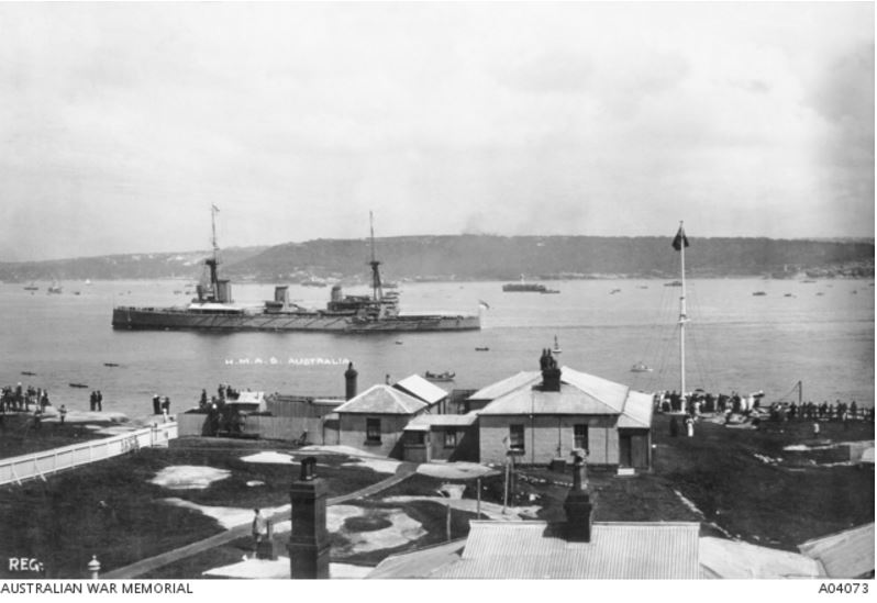 HMAS AUSTRALIA, SYDNEY HARBOUR, OCTOBER 1913 https://www.awm.gov.au/collection/A04073/