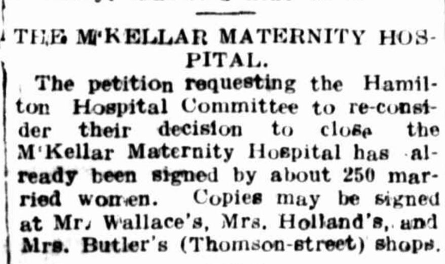"""THE M[?]KELLAR MATERNITY HOSPITAL."" Hamilton Spectator (Vic. : 1870 - 1873; 1914 - 1918) 22 October 1915: ."