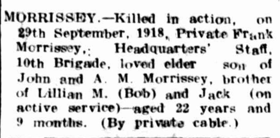 """Family Notices"" Hamilton Spectator (Vic. : 1870 - 1918) 15 October 1918: 4. ."